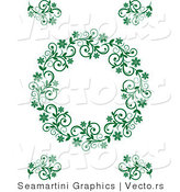 Vector of Floral Green Border Frame with Blank Copyspace Text Area by Vector Tradition SM