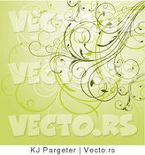 Vector of Floral Swirly Vines Composited on Green Background Design by KJ Pargeter