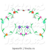 Vector of Floral Vines Border Design with Dragonflies by Bpearth