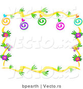 Vector of Floral Vines Border Design with Swirls, Hearts and Bugs by Bpearth