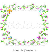 Vector of Floral Vines Border with Hearts, Bees and Butterflies by