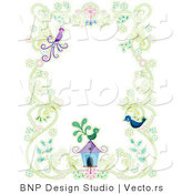 Vector of Floral Vines with Two Birds and a Bird House - Background Border Design by BNP Design Studio