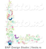 Vector of Floral Vines with Two Birds Beside a House - Border Background Design by BNP Design Studio