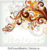 Vector of Flourish Vines Background Design over White Background Design Version 9 by OnFocusMedia