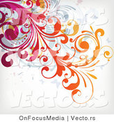 Vector of Flourish Vines over off White Background Design Version 4 by OnFocusMedia