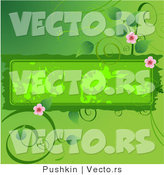Vector of Flowering Green Vines Around a Grungy Blank Text Box Background Design Element by Pushkin