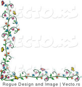 Vector of Flowering Vine and Butterfly Border over White by Pams Clipart