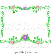Vector of Flowering Vines Border Frame Design by Bpearth