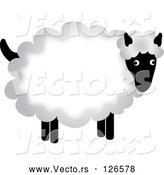 Vector of Fluffy Sheep with Thick Wool by Pams Clipart