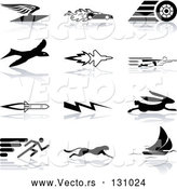 Vector of Flying Envelope, Race Car, Tire, Bird, Jet, Super Hero, Rocket, Lightning Bolt, Hare, Sprinter, Cheetah, and Sail Boat, over a White Background by AtStockIllustration