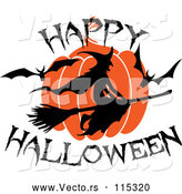 Vector of Flying Witch with Happy Halloween Text by Vector Tradition SM