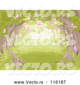 Vector of Forest with a Tree Canopy Ferns and Pink Spring Butterflies by Pushkin