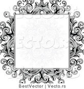 Vector of Formal Blank Copyspace Box over a Black Floral Design on White Background Border Design by BestVector