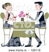 April 9th, 2018: Vector of Formal Couple Drinking Red Wine at a Restaurant by BNP Design Studio