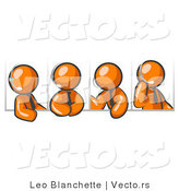 Vector of Four Different Orange Guys Wearing Headsets and Having a Discussion During a Phone Meeting by Leo Blanchette
