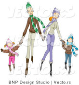 Vector of Four Happy Caucasian Family Members Ice Skating by BNP Design Studio