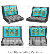 Vector of Four Laptop Computers with Three Orange Guys on Each Screen by Leo Blanchette