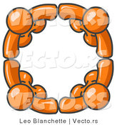 Vector of Four Orange Characters Standing in a Circle and Holding Hands for Teamwork and Unity by Leo Blanchette