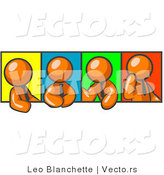 Vector of Four Orange Guys in Different Poses Against Colorful Backgrounds, Perhaps During a Meeting by Leo Blanchette