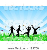 Vector of Four Silhouetted KChildren Running, Holding Hands and Doing Somersaults in a Field of Butterflies and Spring Flowers over a Bursting Blue Background by KJ Pargeter