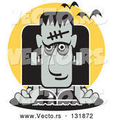 Vector of Frankenstein Slumped over and Bats Flying past by Andy Nortnik