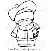 Vector of French Person with a Hat and Scarf - Coloring Page Outlined Art by Leo Blanchette