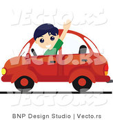 Vector of Friendly Boy Waving While Driving a Red Car by BNP Design Studio