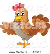 Vector of Friendly Brown Hen Presenting by Visekart