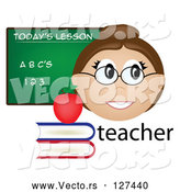 Vector of Friendly Female Caucasian Teacher with the Word, Books and Chalk Board by Pams Clipart