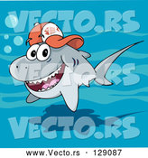Vector of Friendly Gray Shark Wearing a Fish Bone Baseball Cap by Holger Bogen