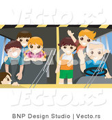 Vector of Friendly School Bus Driver with Happy Students Waving by BNP Design Studio