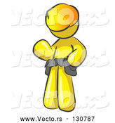 Vector of Friendly Yellow Construction Worker or Handyman Wearing a Hardhat and Tool Belt and Waving by Leo Blanchette