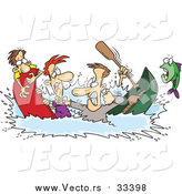 Vector of Friends Fighting While Sinking in a Canoe - Cartoon Fishing Design by Toonaday