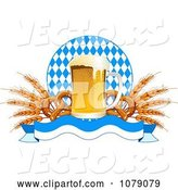 Vector of Frothy Oktoberfest Beer with Soft Pretzels and Wheat over a Banner and Diamonds by Pushkin