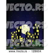 Vector of Full Moon and Dark Starry Sky over City Buildings by David Barnard