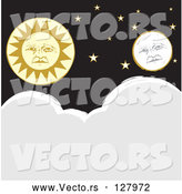 Vector of Full Moon and Sun Faces with Stars over Clouds by Xunantunich