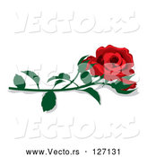 Vector of Fully Bloomed Single Red Rose and Bud with a Stem by Pams Clipart