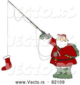 Vector of Funny Cartoon Santa Fishing with Christmas Stocking As Bait on Hook by Djart