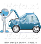 Vector of Futuristic Character Calling a Towing Company by a Broken down Car by BNP Design Studio