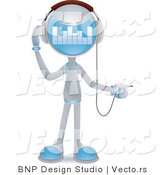 Vector of Futuristic Character Plugging in Headphones by BNP Design Studio