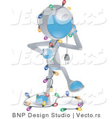 Vector of Futuristic Character Tangled in Christmas Lights by BNP Design Studio