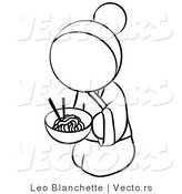 Vector of Geisha Woman Eating Noodles - Coloring Page Outlined Art by Leo Blanchette