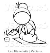 Vector of Geisha Woman Pouring Tea - Coloring Page Outlined Art by Leo Blanchette