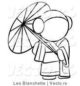 Vector of Geisha Woman Strolling with a Parasol - Coloring Page Outlined Art by Leo Blanchette