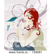 Vector of Gentle Redhead Lady Holding a Bird in Her Hand by AtStockIllustration