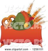 Vector of German Oktoberfest Hat with Wheat and a Soft Pretzel over a Red Ribbon Banner by Pushkin
