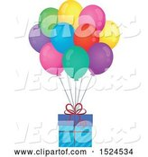 Vector of Gift Floating with Colorful Party Balloons by Visekart
