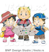 Vector of Girl and 2 Boys Exploring Outdoors with a Map by BNP Design Studio