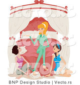 Vector of Girl and Two Brunette Friends Talking at a Sleepover by BNP Design Studio
