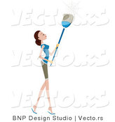 Vector of Girl Brushing down Cobwebs with a Broom by BNP Design Studio